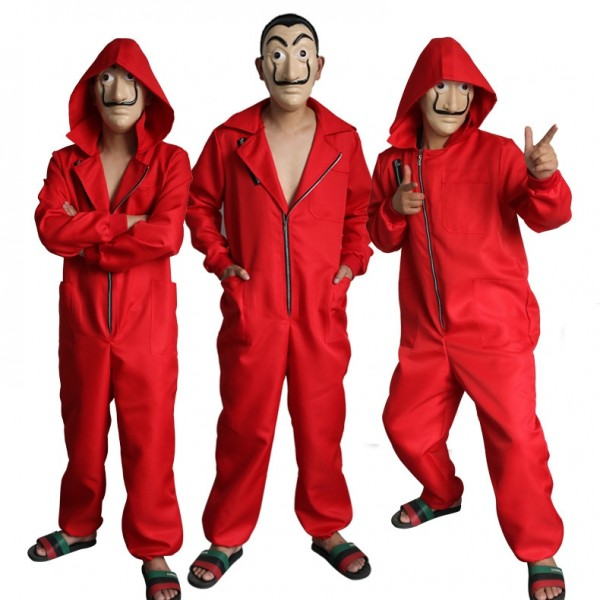 Money Heist Jumpsuit Costume - Salvador Dali Complete La Casa de Papel Cosplay Red Jumpsuit