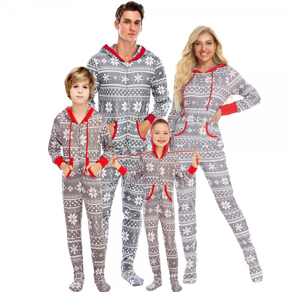 Family Christmas Pajamas Footed Onesie Hooded One-Piece Sleepwear