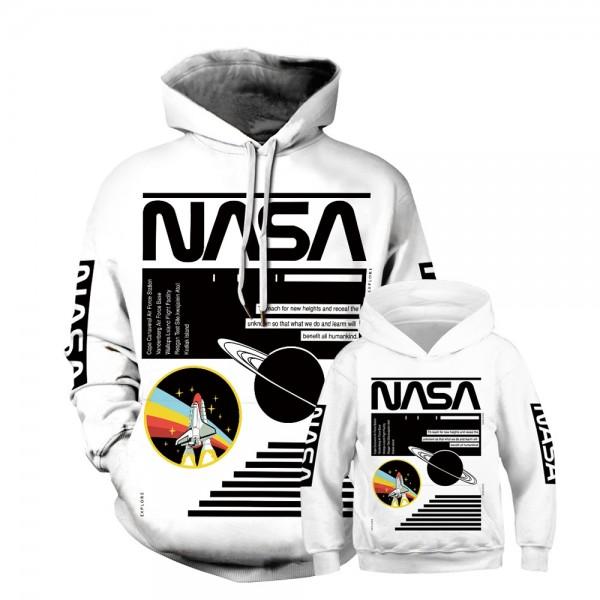 NASA Spaceship Hoodie Sweatshirt White For Men Women Kids Family Matching Adult Children