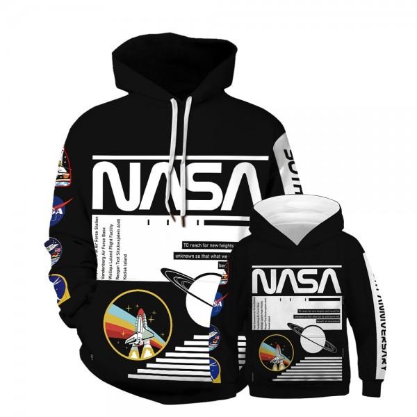 NASA Spaceship Hoodie Sweatshirt Black For Men Women Kids Family Matching Adult Children
