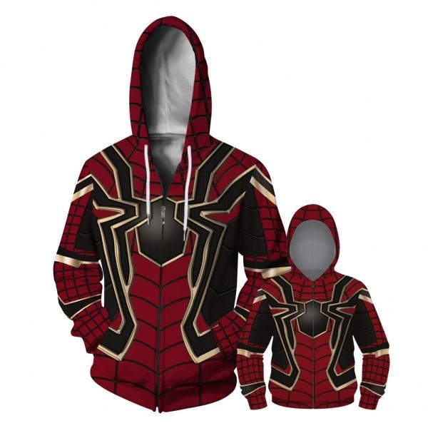 Iron Spider Man Zip Up Hoodie Jacket For Men Women Kids Family Matching Adult Children