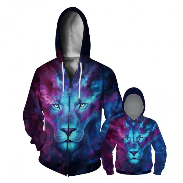 Galaxy Lion Zip Up Hoodie Jacket For Men Women Kids Family Matching Adult Children