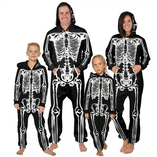 Skull 3D Zip Up Hooded Jumpsuit Zip Up Long Sleeve Onesie For Men & Women