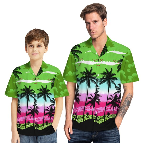 Tropical Hawaiian Aloha Shirt Beach Palm Green Casual Button-Down Shirts For Men Boys
