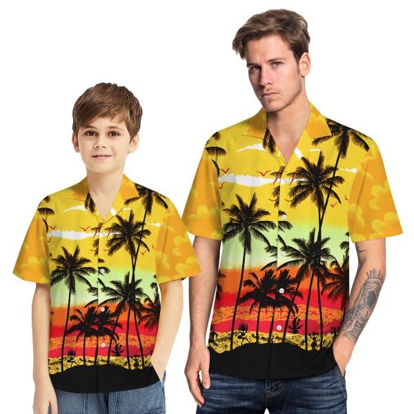 Tropical Hawaiian Aloha Shirt Beach Palm Yellow Casual Button-Down Shirts For Men Boys