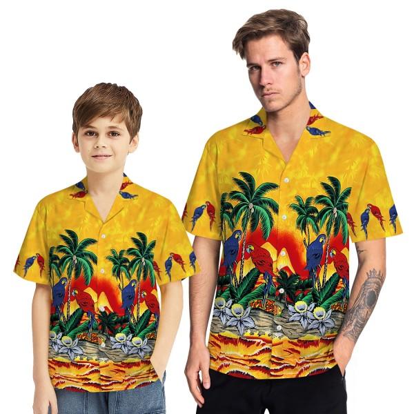 Tropical Hawaiian Aloha Shirt Parrot Palm Yellow Casual Button-Down Shirts For Men Boys