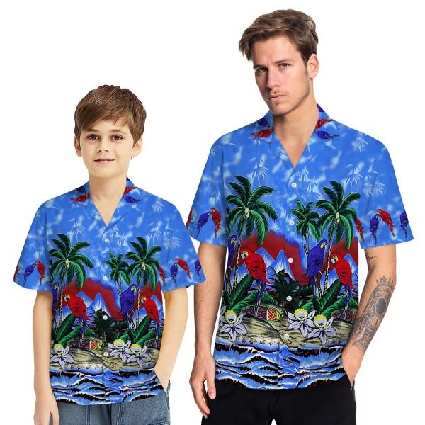 Tropical Hawaiian Aloha Shirt Parrot Palm Blue Casual Button-Down Shirts For Men Boys