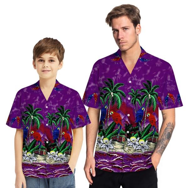 Tropical Hawaiian Aloha Shirt Parrot Palm Purple Casual Button-Down Shirts For Men Boys