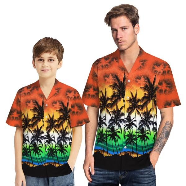 Tropical Hawaiian Aloha Shirt Sea Gull Palm Orange Casual Button-Down Shirts For Men Boys