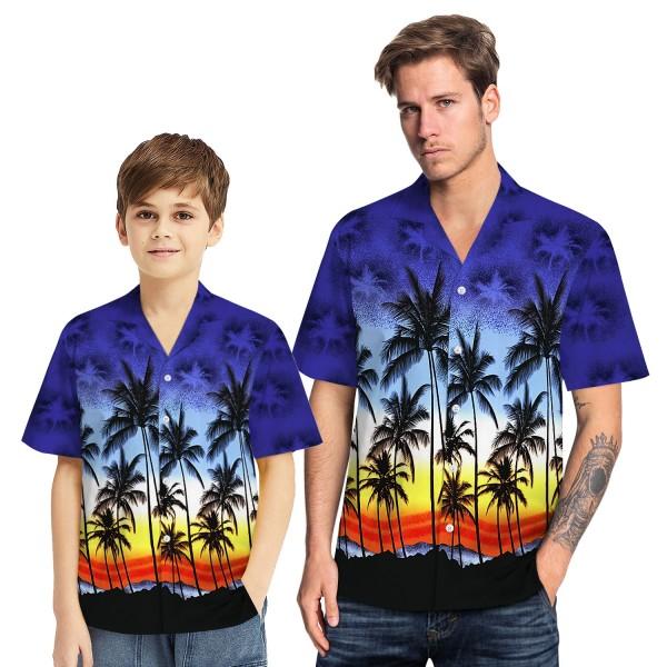 Tropical Hawaiian Aloha Shirt Sea Gull Palm Purple Casual Button-Down Shirts For Men Boys