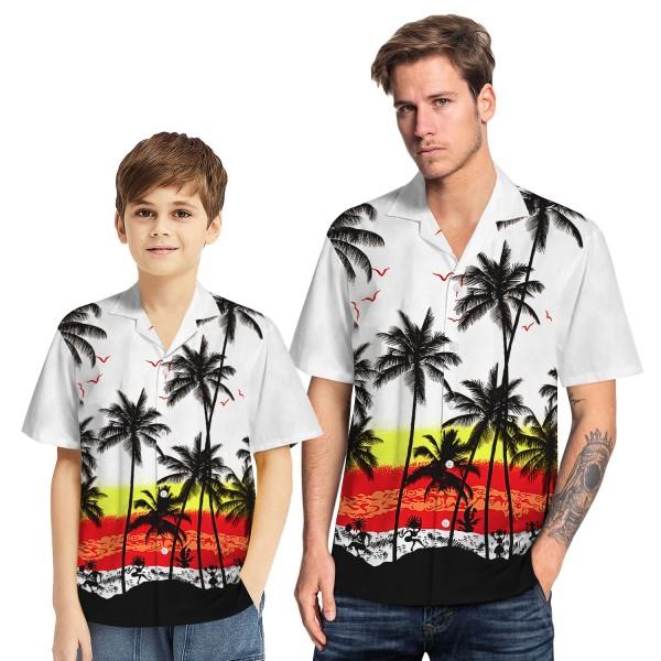 Tropical Hawaiian Aloha Shirt Sea Gull Palm White Casual Button-Down Shirts For Men Boys