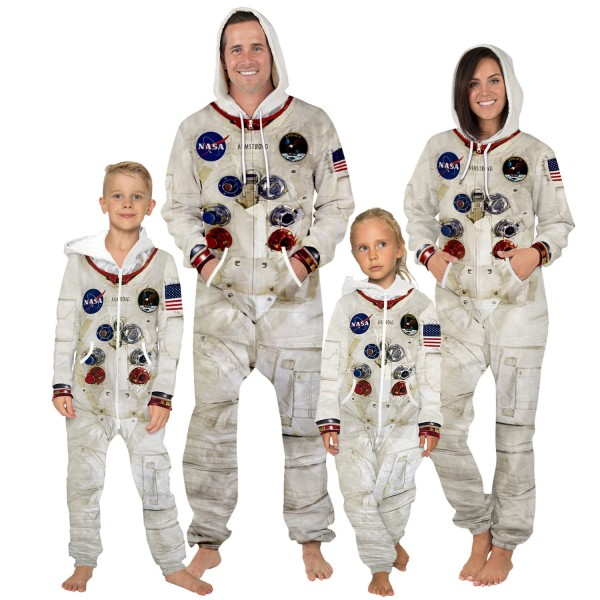 NASA 3D Zip Up Hooded Jumpsuit Zip Up Long Sleeve Onesie For Men & Women