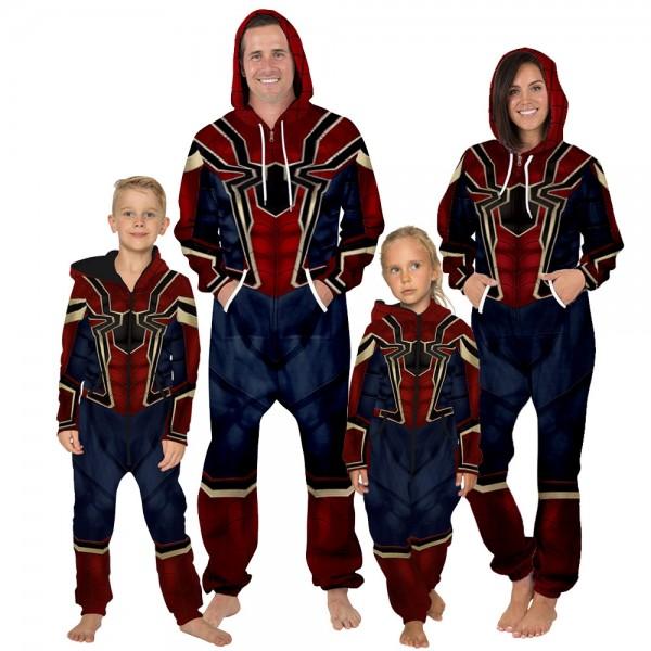Iron Spider-Man 3D Zip Up Hooded Jumpsuit Zip Up Long Sleeve Onesie For Men & Women