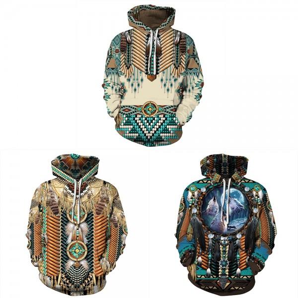 Native American Indian Hoodie 3D Printed Pullover Hoodies Sweatshirt