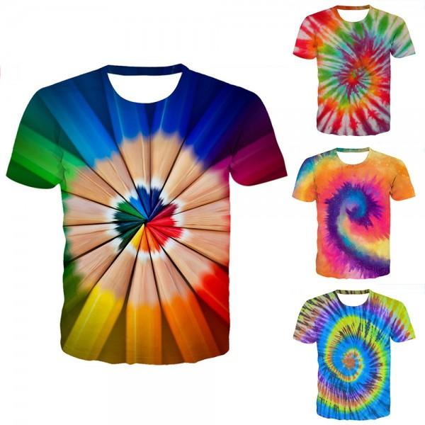 Tie-Dye Circle T-Shirt 3D Short Sleeve Tee