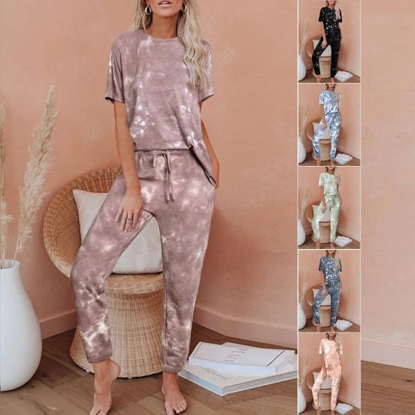Women Tie Dye Tee & Pants Pajama Set Short Sleeve Sleepwear Loungewear