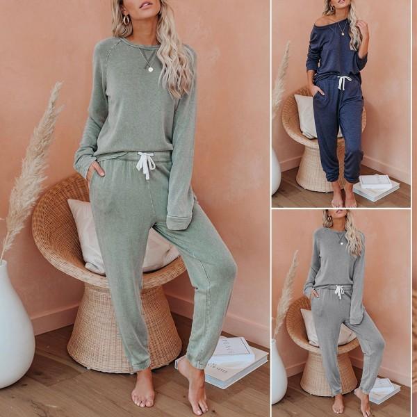 Women Two Pieces Pajamas Set Long Sleeve Tops & Pants Sleepwear Loungewear