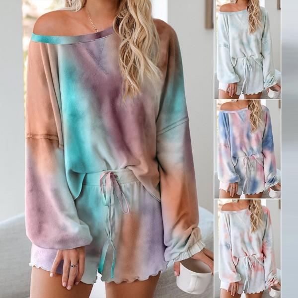Women Tie Dye Tops & Shorts Pajama Set Long Sleeve Sleepwear Loungewear