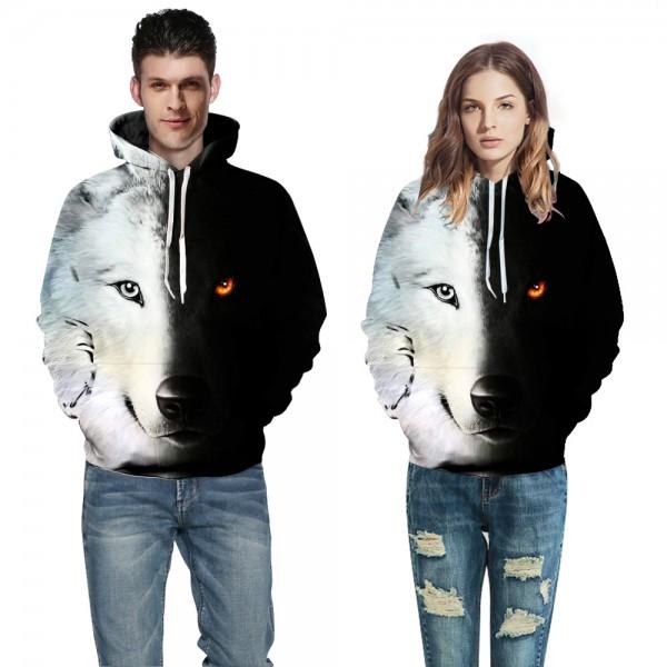 3D Cool Wolf Printed Animal Sweatshirt Hoodies