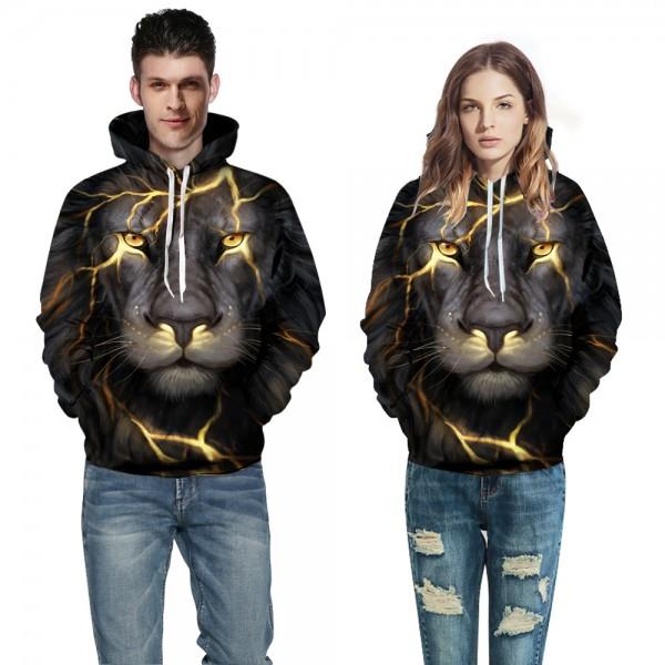 Lighting Lion Face Animal 3D Print Hooded Sweatshirt