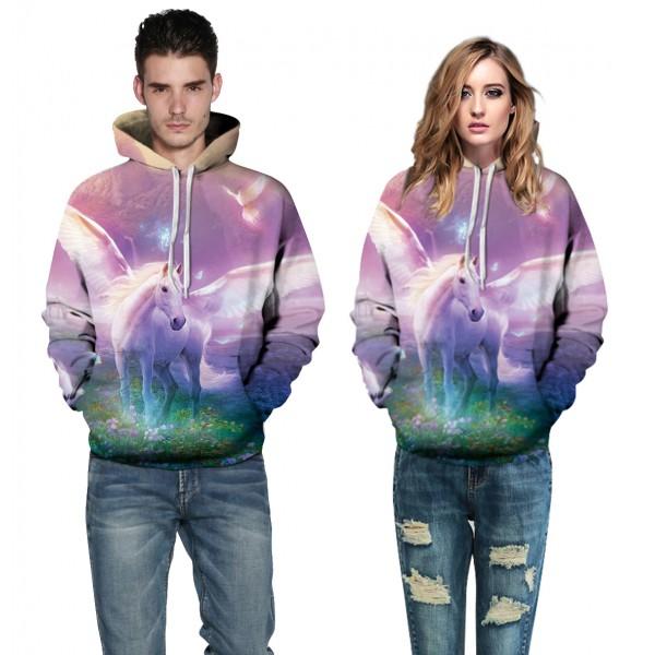 Flying Horse 3D Design Hooded Sweatshirt