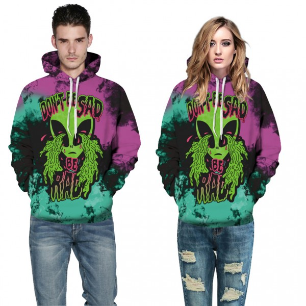 Alien Purple 3D Print Hooded Sweatshirt