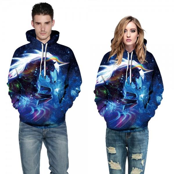 Unicorn Galaxy 3D Print Long Sleeve Sweatshirt Purple Hoodies