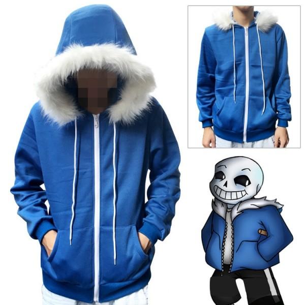 Undertale Sans Hoodie Jacket Cosplay Costume Blue Hooded Winter Coat