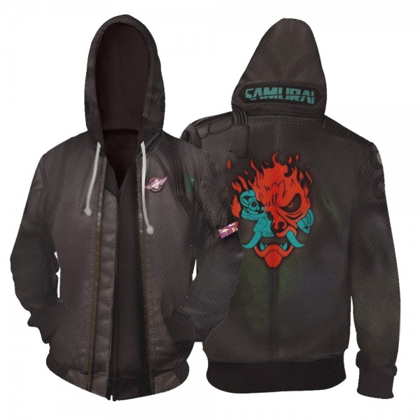 Cyberpunk 2077 Hoodies - Samurai 3D Zip Up Hoodie Jacket Cosplay Costume