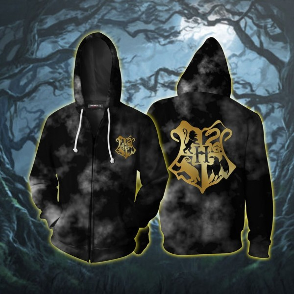 Harry Potter Hoodies - Hogwarts Logo 3D Zip Up Hoodie Jacket Cosplay Costume