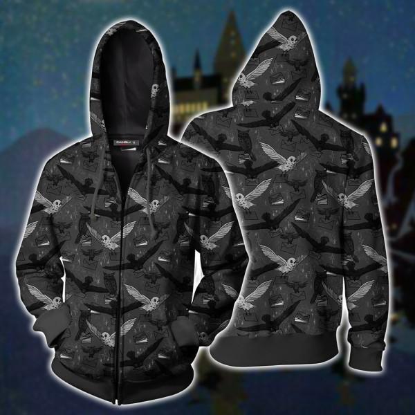Harry Potter Hoodies - Hedwig 3D Zip Up Hoodie Jacket Cosplay Costume