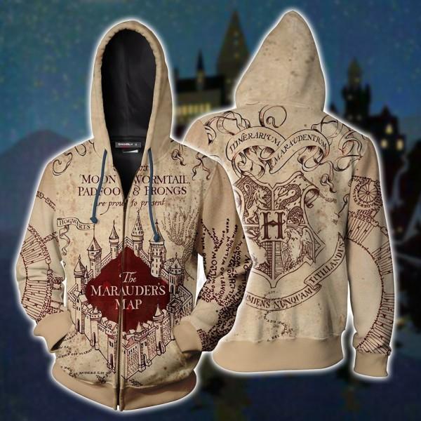 Harry Potter Hoodies - The Marauder's Map 3D Zip Up Hoodie Jacket Cosplay Costume