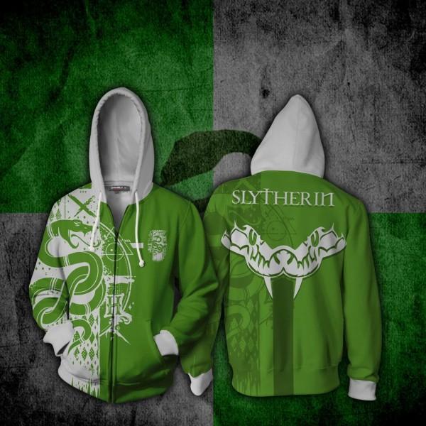Harry Potter Hoodies - Quidditch Slytherin Hoodie 3D Zip Up Jacket Cosplay Costume