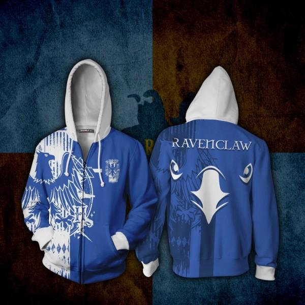 Harry Potter Hoodies - Quidditch Ravenclaw Hoodie 3D Zip Up Jacket Cosplay Costume