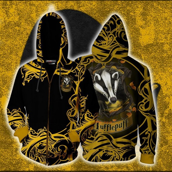 Harry Potter Hoodies - Loyal Like A Hufflepuff Hoodie 3D Zip Up Jacket Cosplay Costume