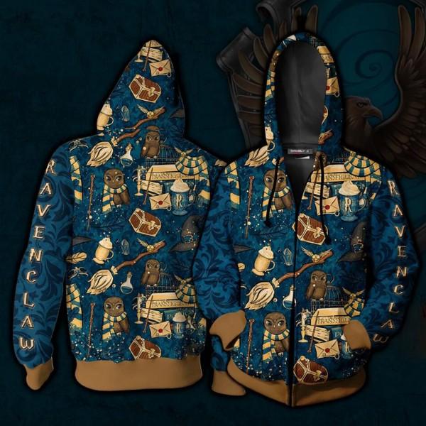 Harry Potter Hoodies - Hogwarts Ravenclaw House Pattern Hoodie 3D Zip Up Jacket Cosplay Costume