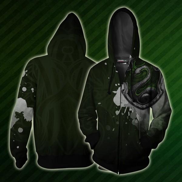 Harry Potter Hoodies - Slytherin Hoodie Jacket 3D Zip Up Cosplay Costume