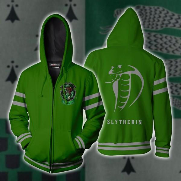 Harry Potter Hoodies - Slytherin Hogwarts Hoodie Jacket 3D Zip Up Cosplay Costume