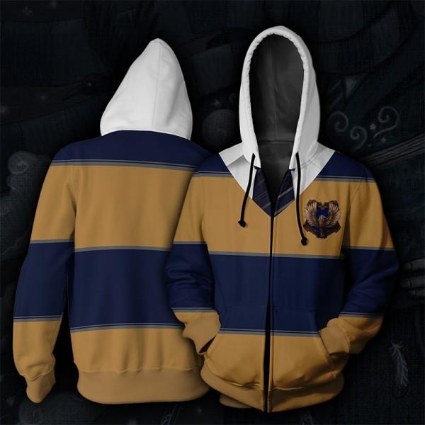 Harry Potter Hoodies - Ravenclaw Striped Hoodie Jacket 3D Zip Up Cosplay Costume