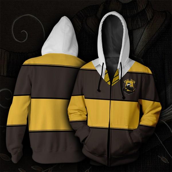 Harry Potter Hoodies - Slytherin Yellow Striped Hoodie Jacket 3D Zip Up Cosplay Costume