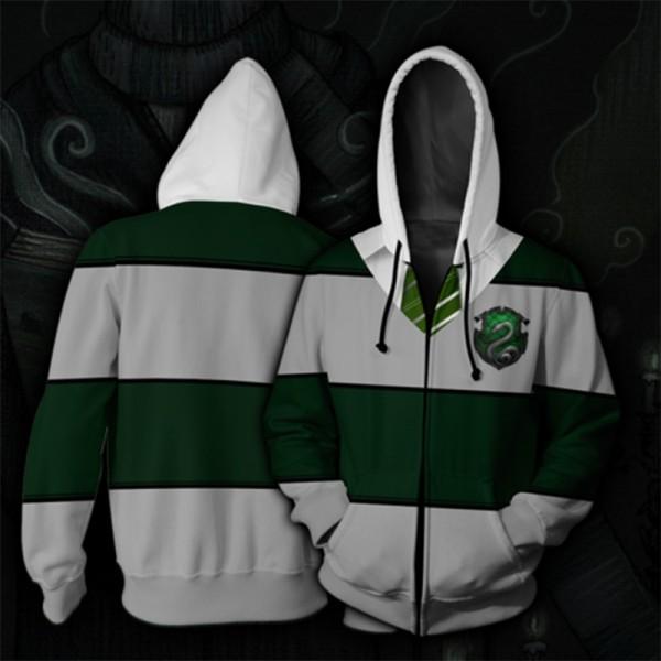 Harry Potter Hoodies - Slytherin Green Striped Hoodie Jacket 3D Zip Up Cosplay Costume