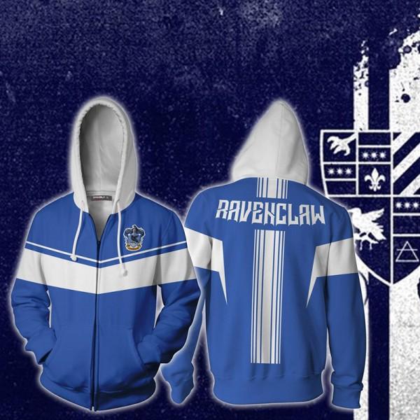 Harry Potter Hoodies - Ravenclaw 3D Hoodie Jacket Zip Up Cosplay Costume