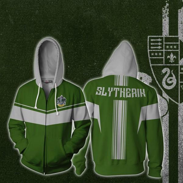 Harry Potter Hoodies - Slytherin Green 3D Hoodie Jacket Zip Up Cosplay Costume