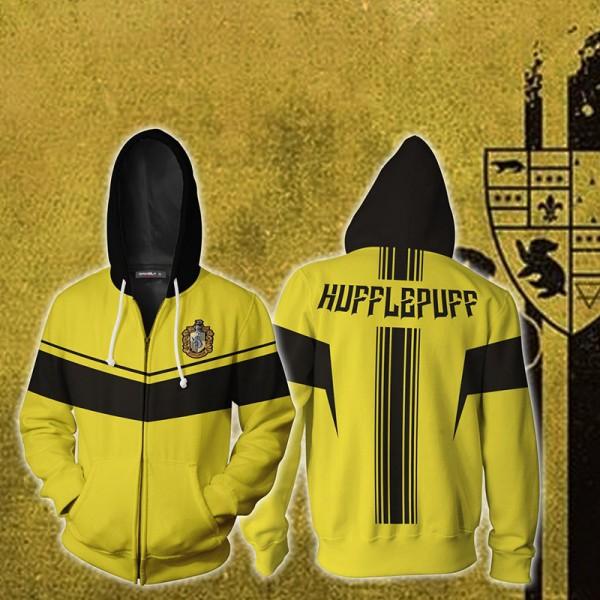 Harry Potter Hoodies - Hufflepuff Yellow 3D Hoodie Jacket Zip Up Cosplay Costume