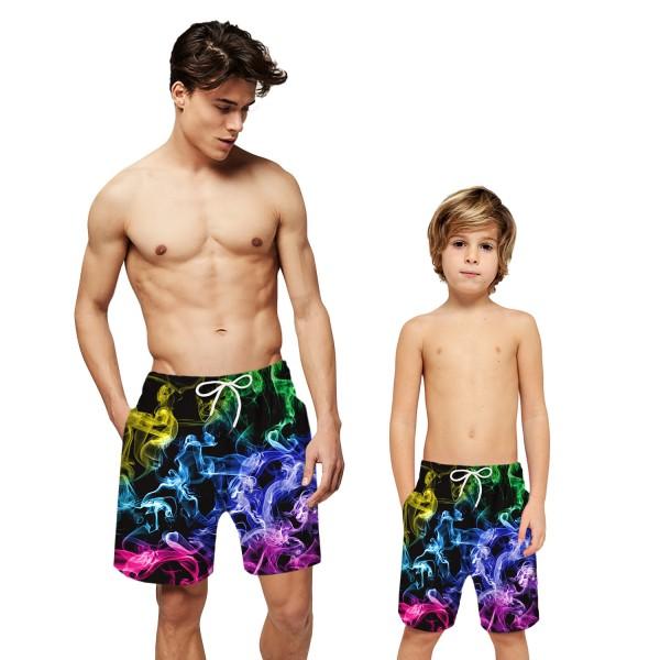 Colorful Smoke Swim Trunks Shorts 3D Print Beach Shorts For Men Boys