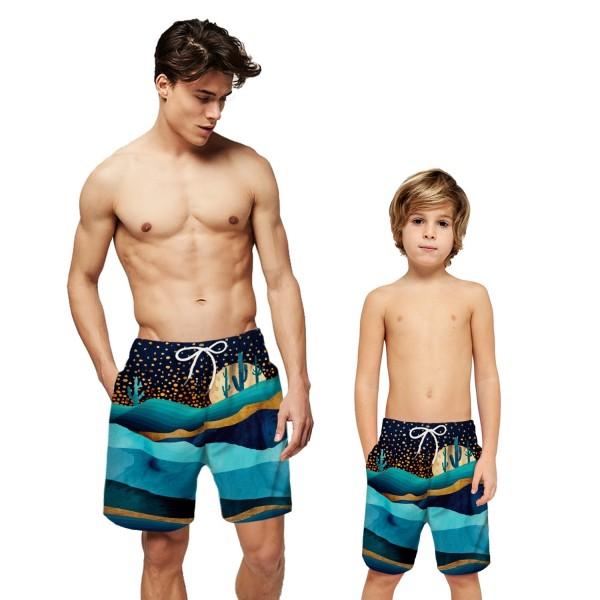 Massif Hill Cactus 3D Print Swim Trunks Shorts Blue Beach Shorts For Men Boys