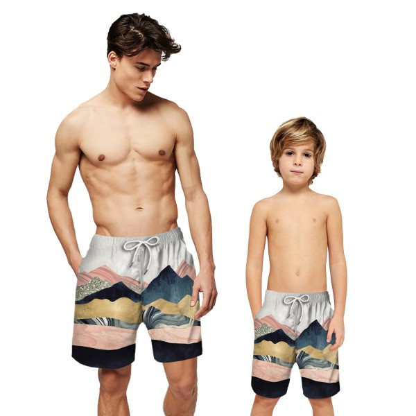 Massif Hill 3D Printing Swim Trunks Shorts Pink Beach Shorts For Men Boys
