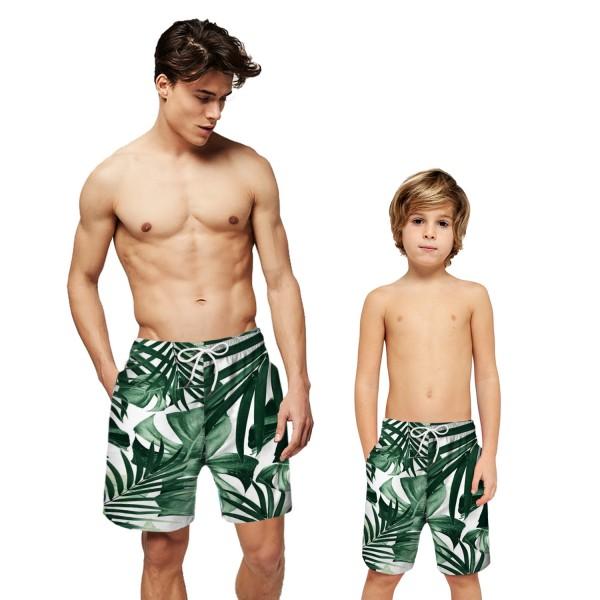 Palm Leaf Swim Trunks Shorts Green 3D Beach Shorts For Men Boys