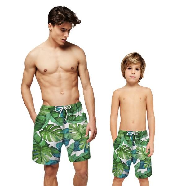 Banana Leaf Swim Trunks Shorts Green 3D Beach Shorts For Men Boys