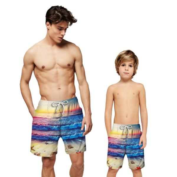 Sea Wave Sunset Swim Trunks Shorts 3D Beach Shorts For Men Boys
